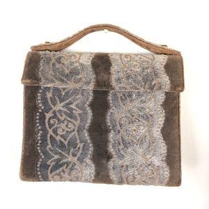 Vintage brocade velvet Crown Lewis snap purse